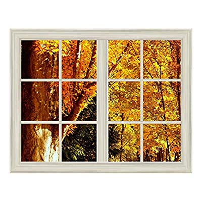 Yellow Tree Leaves in Autumn Window View Mural Wall Sticker - 36