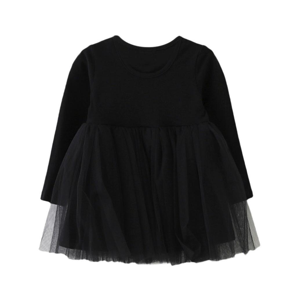 Amlaiworld Baby Mädchen bunt Langarmshirt Flickwerk Tutu Kleinkind Freizeit weich Kleider, 1-4 Jahren
