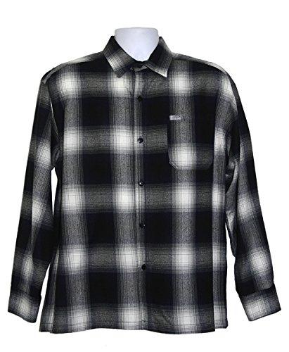 CalTop USA Mens Long Sleeve Check Plaid Button Down Flannel Shirt (4X-Large, (Acrylic Shirt)