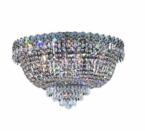 19th Century Chandelier - Elegant Lighting 1900F20C/RC Century 12-Inch High 9-Light Flush Mount, Chrome Finish with Crystal (Clear) Royal Cut RC Crystal
