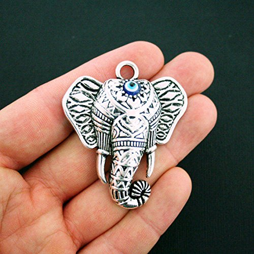 Elephant Pendant Charm Antique Silver Tone Large Sized with Evil Eye - SC6016 Jewelry Making Supply Pendant Bracelet DIY Crafting by Wholesale Charms