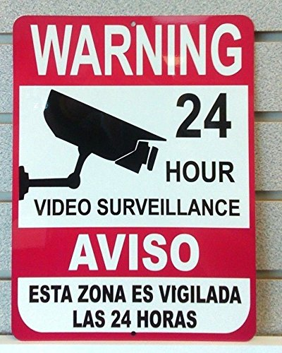 "1-Pc Inspiring Unique Warning 24 Hour Video Surveillance Aluminum Signs Premises Monitored CCTV Hr Decals House Neighbor Reflective Protected Door Business Sign Home Trespassing Size 9""x12"" Spanish"