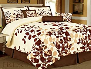 7-Pieces Brown Flocking Leaf Comforter Set Bed-in-a-bag Queen Size