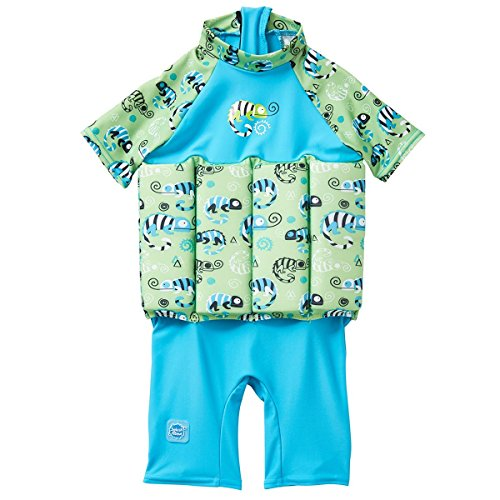(Splash About Collections UV UPF50+ Sun Protection Float Suit with Adjustable Buoyancy, Green Gecko, 2-4 Years)