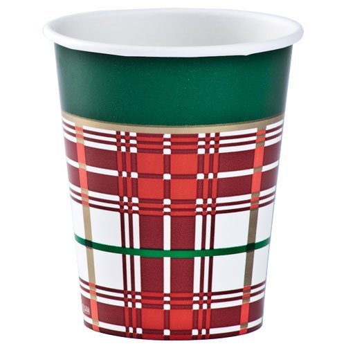 Hannah K. Christmas 12-Pack 9-Ounce Plaid Hot and Cold Paper Cup, Full