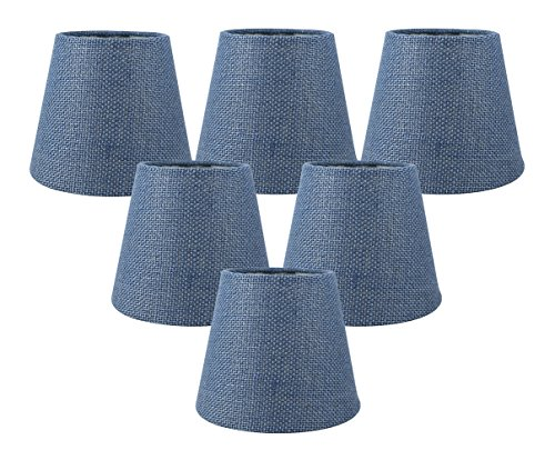 Meriville Set of 6 Denim Blue Burlap Clip On Chandelier Lamp