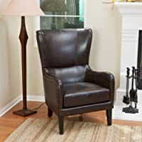 Christopher Knight Home 229675 Lorenzo Bonded Leather Studded Club Chair, Brown