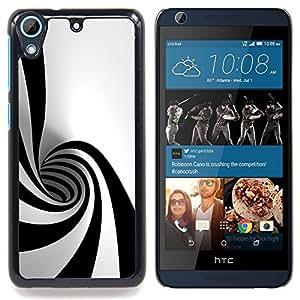 """Qstar Arte & diseño plástico duro Fundas Cover Cubre Hard Case Cover para HTC Desire 626 (Negro Blanco Hypnotic Forma Túnel Psychedelic Art"""")"""