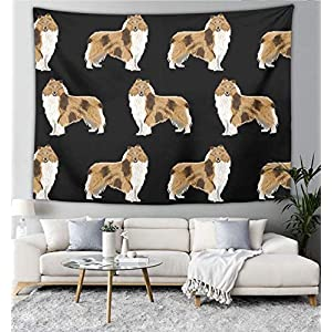 """NiYoung Rough Collie Dog Tapestry Blanket Bedspread Beach Towels Picnic Mat Tapestries Wall Hanging Tapestry Home Decorations for Bedroom Living Room Dorm Decor (60"""" x 90"""") 12"""