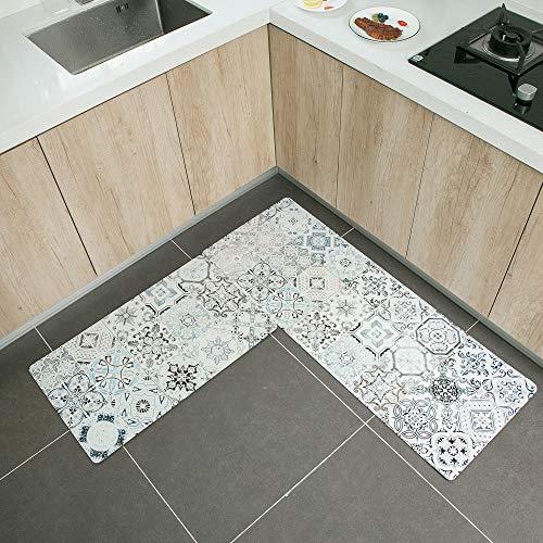 "2 Piece Non-Slip Kitchen Mat Rubber Backing Doormat Runner Rug Set 16x24/""+16x47/"""