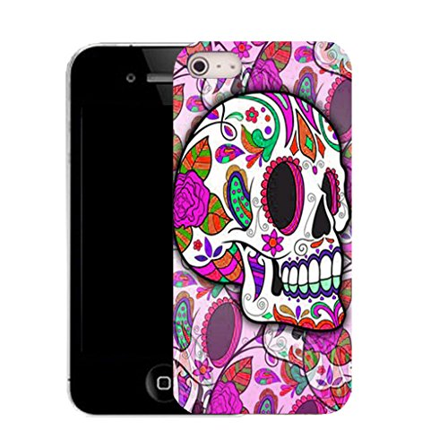 Mobile Case Mate IPhone 5 clip on Silicone Coque couverture case cover Pare-chocs + STYLET - PURPLE HIPPIE SKULL pattern (SILICON)