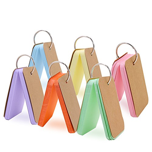 Koogel 300 Pieces 2.2 x 3.5 Inches Multicolor Kraft Paper Binder Ring Easy Flip Flash Card Study Cards/Memo Scratch Pads/Bookmark/DIY Greeting Card/Index Card Stock/Note Card(50 Sheets per Set) -