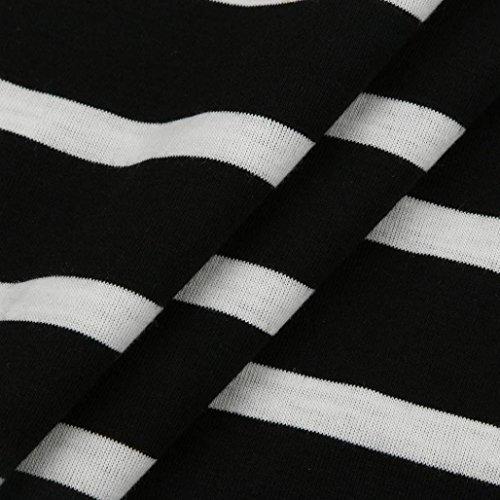 FEITONG Blusa de la impresión floral de la raya de las mujeres Blusa de la camisa de la tapa de la manga de tres cuartos Negro