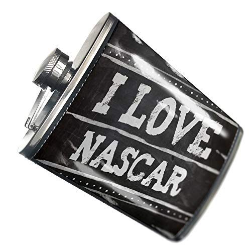 NEONBLOND Flask Chalkboard with I Love Nascar Hip Flask PU Leather Stainless Steel Wrapped
