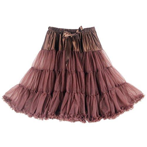 Buenos Ninos Jupe tutu/jupon en mousseline douce 63?cm Jupe sexy Tulle Dguisement pour fte Marron - Caf