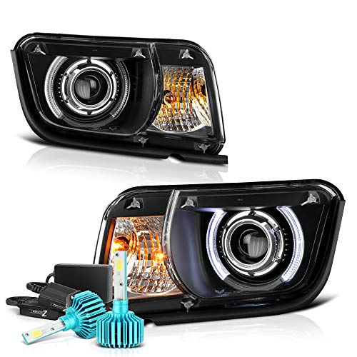 (VIPMOTOZ LED Halo Ring Projector Headlight Lamp Assembly For 2010-2013 Chevy Camaro, Built-In Color Changing RGB LED Low Beam, Black Housing, Driver & Passenger Side)