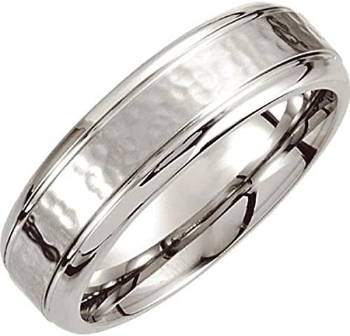 Cobalt 7mm Grooved Edge & Hammered Band Size 10