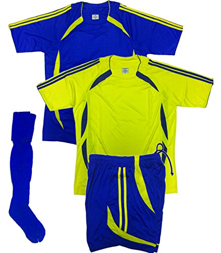 (Soccer Uniforms for Team,Youth and Adult (4 PCS SET), (two jerseys, One Short and One Pair of Socks, any color you chose) Royal, Black, Purple, (Large, Yellow/Royal))
