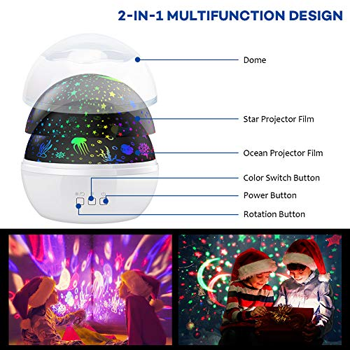 Night Light Projector,Delicacy 2 in 1 Ocean Undersea Lamp and Starry Sky Projector, 360° Rotating 8 Colors Mode LED Night Lights Projector for Kids Baby Bedroom Decoration