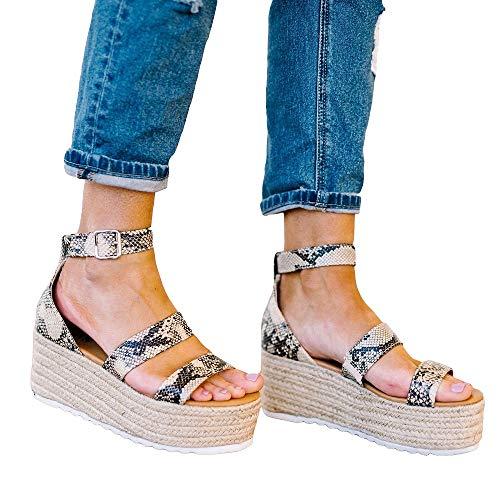 FISACE Womens Espadrille Double Strap Snake Print Leopard Platform Wedge Sandal Shoes