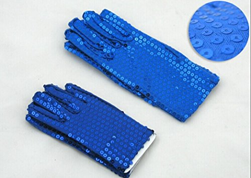 [Adult / kids Sequin Hand Gloves - Wrist Length Hand Gloves That Fit Most (Adult --Blue)] (Michael Jackson Billie Jean Costumes For Kids)