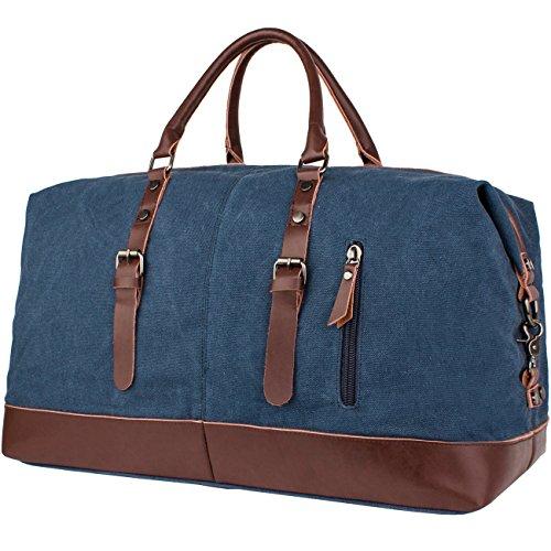 Leaper Oversized Canvas Travel Duffel Weekend Bag Tote Satchel Shoulder  Handbag Holdall Weekender (Dark Blue) 468ce8b20e377