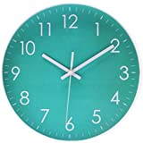 Simple Wall Clock Sweep Second Hand Non Ticking Battery Operated Easy To Read Decor Kitchen,Bathroom,Office 10 Inch Turquoise