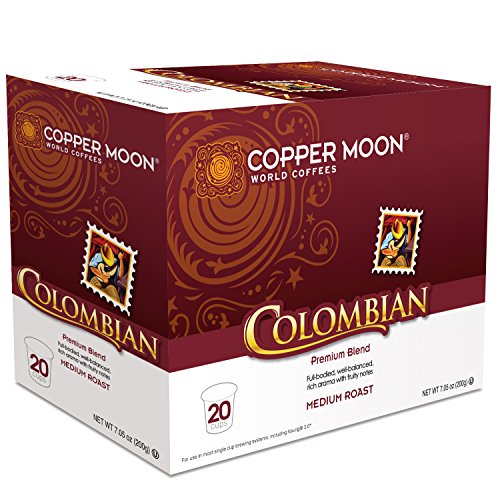 Copper Moon Coffee Single Serve Pods for Keurig 2.0 K-Cup Brewers, Colombian Blend, Medium Roast Coffee Well Balanced with Rich Aroma and Fruity Notes, 20 Count