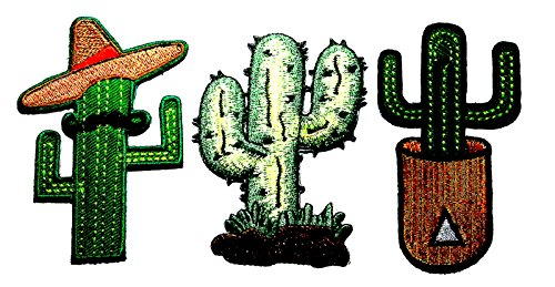 PP patch Set 3 Cactus put a mustache hat patch , Cactus patch , Cactus pot patch DIY Applique Embroidery Iron on - Costume Tom Rider