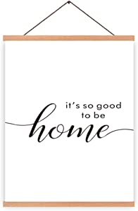 Natural Wood Magnetic Hanger Frame Poster- It is So Good To Be Home Minimalist Quote& Inspirational Saying Canvas Art Print Warm Family Typography Painting 28X45cm Frames Hanging Kit