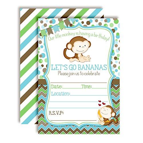 Little Monkey Birthday Party Invitations for Boys, 20 5