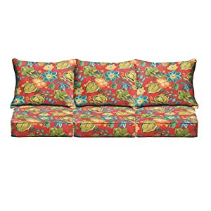 Mozaic Co. Red Tropical Indoor/ Outdoor Corded Sofa Cushion Set
