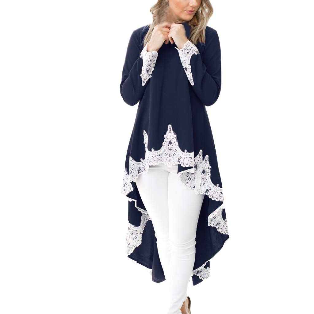 Women Long Sleeve Irregular Hem Lace Shirt Dress Casual Pullover Dress