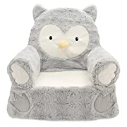 14  L x 19  W x 20  H 100 lb. Weight Capacity Plush Owl Sweet Seat Chair in Grey