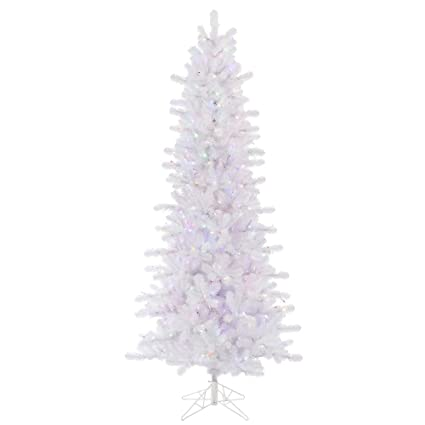 vickerman crystal white slim artificial christmas tree with 500 multi colored led lights 75