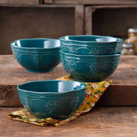 (The Pioneer Woman Farmhouse Lace Bowl Set | Antique Finish Durable Stoneware Lace Bowl Set, 4-Pack (Ocean Teal))