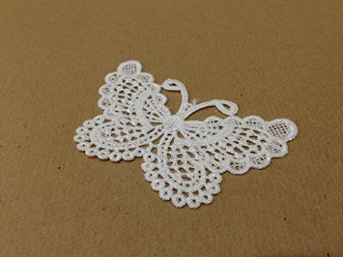 CraftbuddyUS 4 x Vintage White Large Butterfly Lace Motifs Patches Sewing Sew on Stick on (Free Butterfly Crochet Pattern)