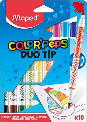 Caneta Hidrográfica Color Peps Duo Tip, Maped 19, Multicor Estojo 10 Cores