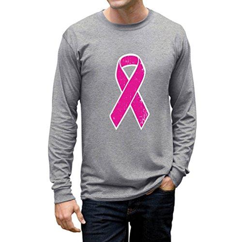 TeeStars - Breast Cancer Awareness - Distressed Pink Ribbon Long Sleeve T-Shirt Small Gray