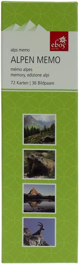 Motive ✓ 72-teilig ✓ Ged/ächtnisspiel Alpen Kartenspiel ebos Memospiel ✓ 36 Bildpaare Kinder- Jugendlichen- und Erwachsenen-Spiel