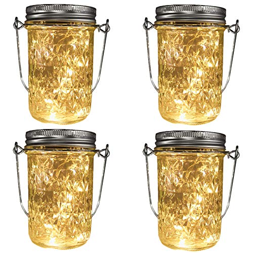- 4 Pack Solar-powered Quilted Crystal Jelly Mason Jar Warm White Lights (Jar/Handle Included),20 LEDs 8oz Jar Hanging Light/Lantern,Solar Garden Outdoor Decor,Patio Path Light, Rust-Proof, Waterproof