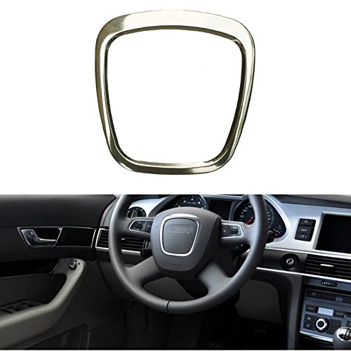Audi A4 Steering Wheel (Trapezoid Car Steering Wheel Sticker Aluminum Body Emblem Trim Fit For Audi A3/A4L/A6L S4/Q3/Q5 (Silver))