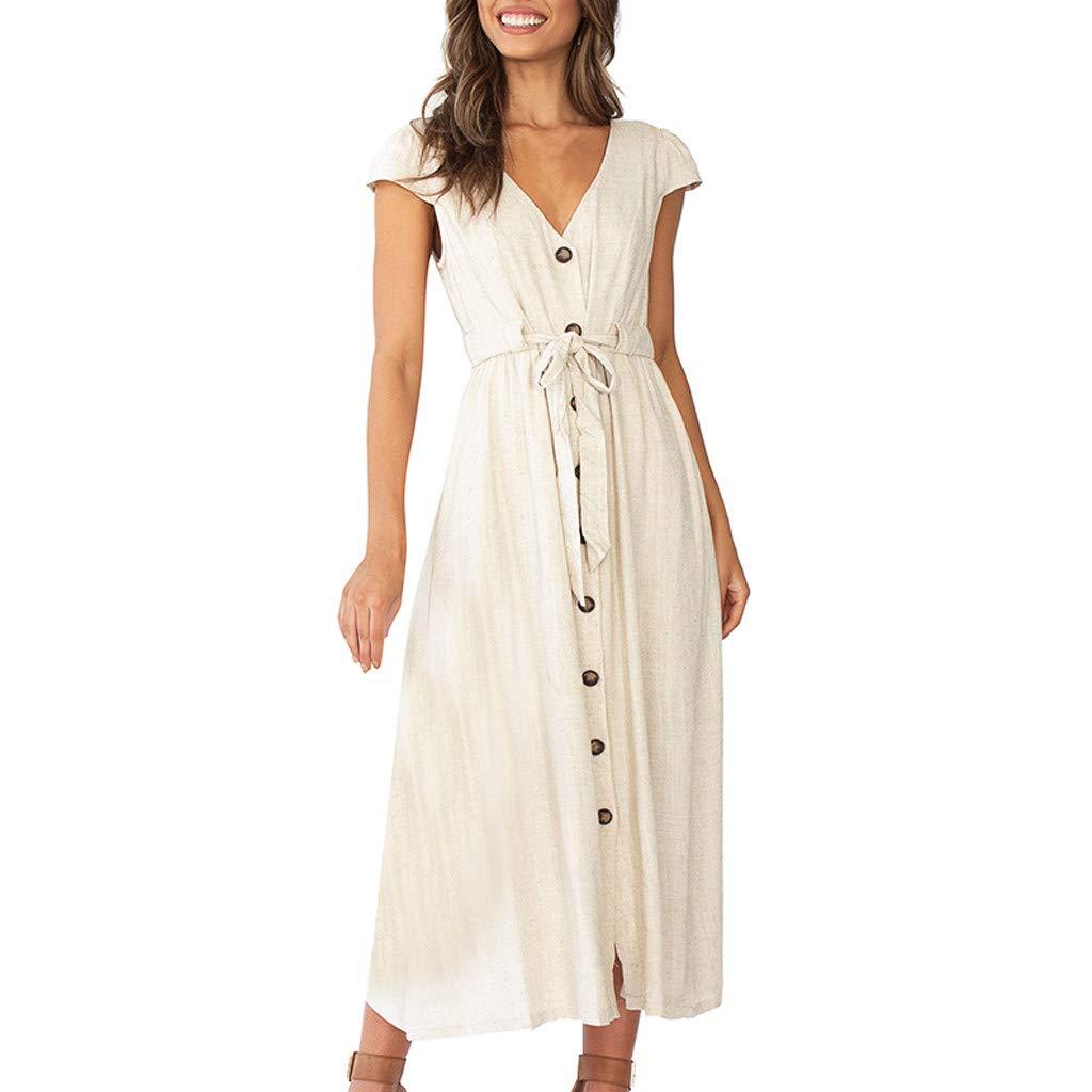 Women's Cotton Midi Dress V-Collar Button Short Short T-Shirt Skater Dress Work Party Dress with Belt (Beige, S) by Cealu