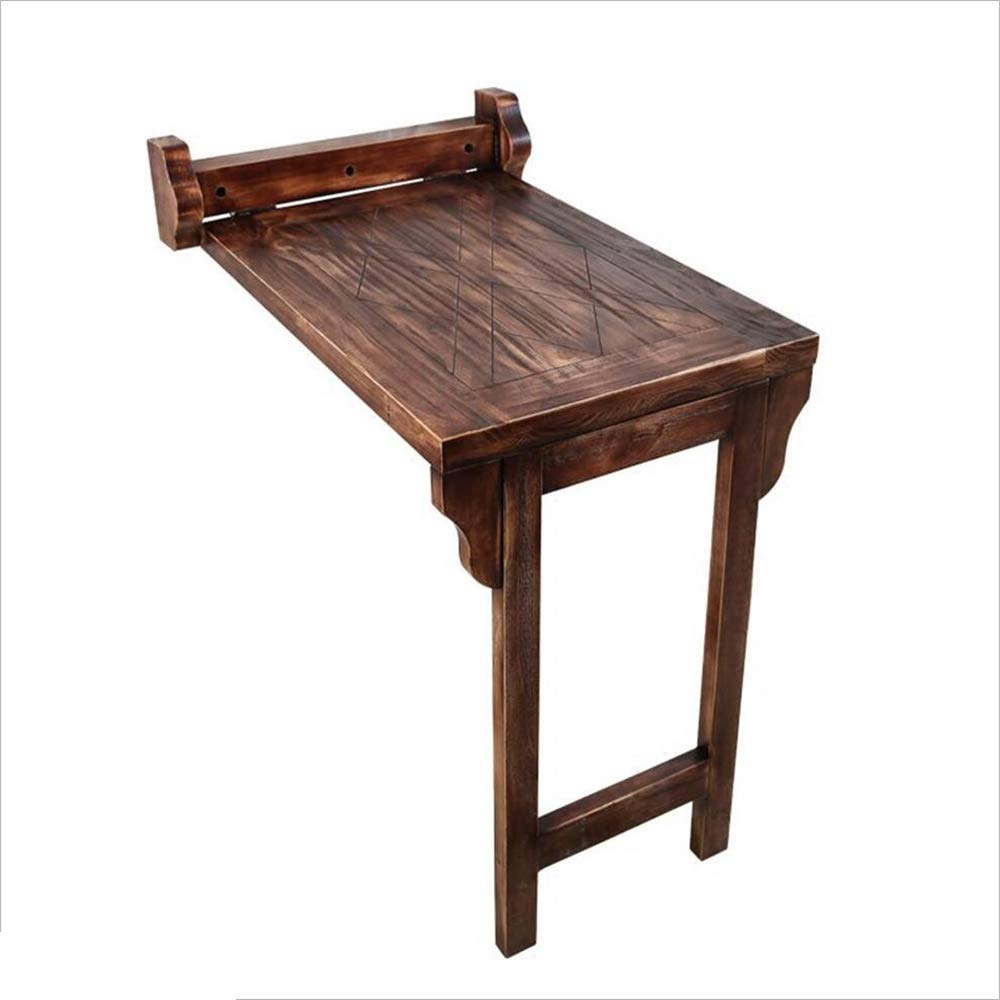 Super Kh® 折りたたみ式壁掛けレトロな木製壁掛けテーブルダイニングテーブルログ伸縮式デスクバルコニー小さなテーブル *   B07K5NXWPG