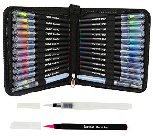 (Artist Watercolor Brush Pen & Paint Marker 24 Unique Colors with Flexible Nylon Brush Tips + 2 Water Brush Pens Professional Watercolor Pens for Painting, Drawing, Coloring & More,)