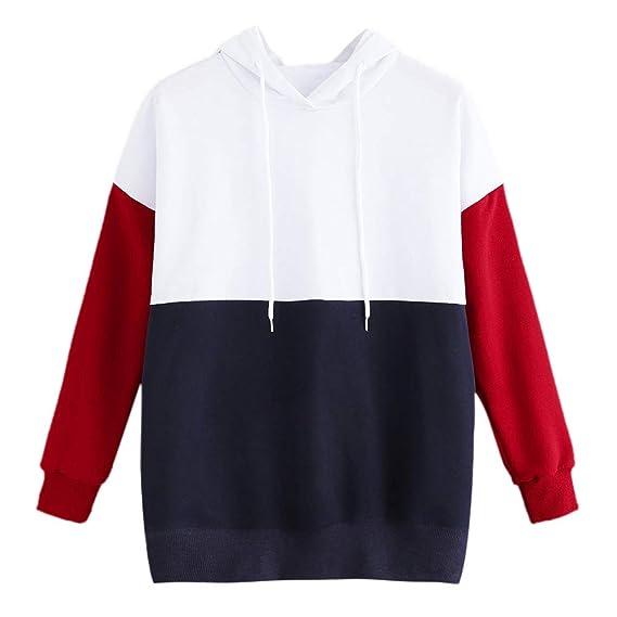 DOGZI Mujer Suéter con Capucha y Costura de Manga Larga para Mujer Sudadera con Capucha Casual Suelto Camisa de Entrenamiento Blusa Tops: Amazon.es: Ropa y ...