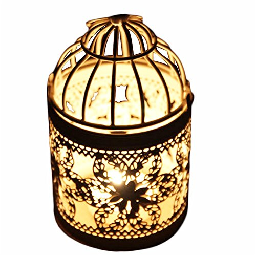 - Doitsa Tealight Candle Holder Metal Hanging Lanterns Creative Wedding Home Decoration Birdcage 3.1x8.5 Inch White