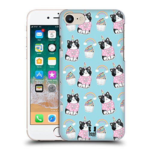 Case+Tempered_Glass, Ultra-Thin Polycarbonate Protector Fits Apple iPhone 6/6S/7/7S/8 Hard snap on Back Cover Pink Unicorn Whimsical Cat/Kitty/Kitten, Birthday Cup-Cake and Rainbow in Blue Sky -