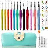 32Pack Crochet Hooks Set Ergonomic Soft Handles - Aluminum Blunt Needles - Knitting Needle - 2.0mm-8.0mm, Best Gifts for Mom