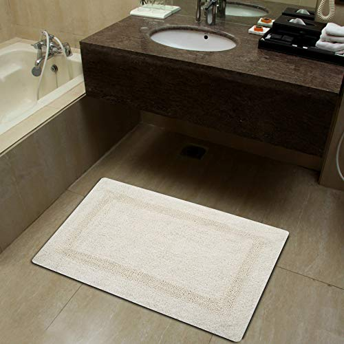 - Sheen Decor Ruffle Feather Bathmat Collection : Pure Cotton Banded Bathroom Mat | Durable Luxury Feel Bath Rug | Extra Absorbent Machine Washable Shower Mat, (20X32 Inches, Ivory)